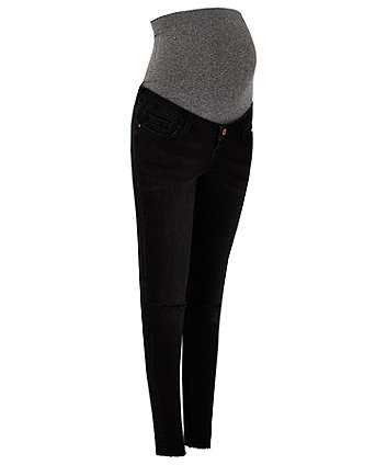 black ripped skinny maternity jeans