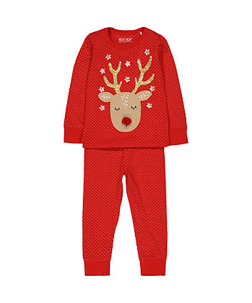red reindeer polka dot pyjamas