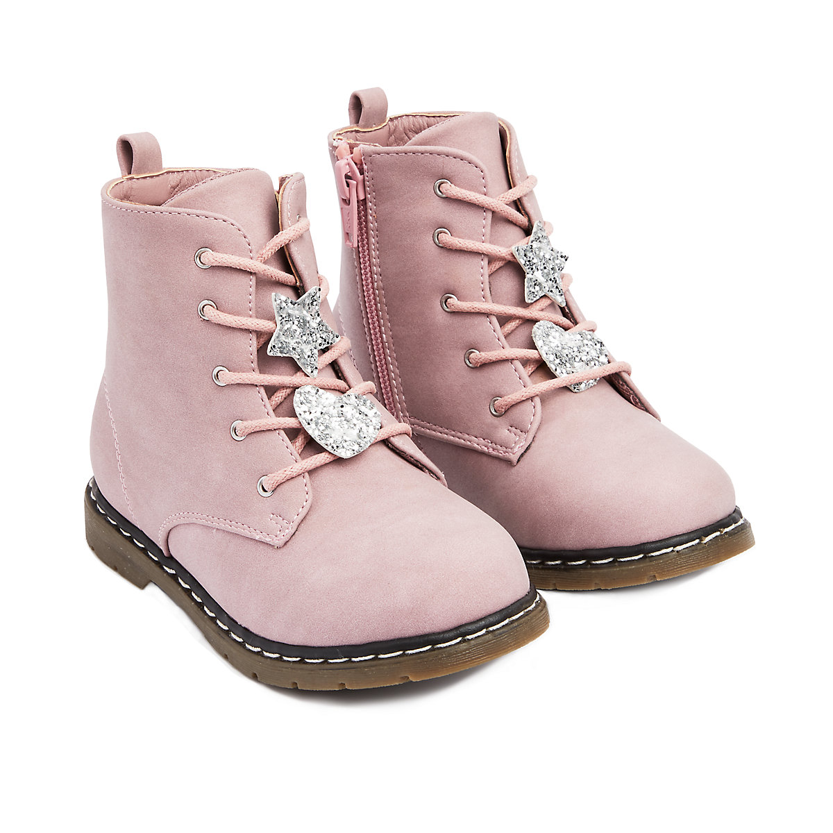 pink star ankle boots