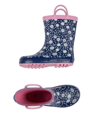 navy floral wellies