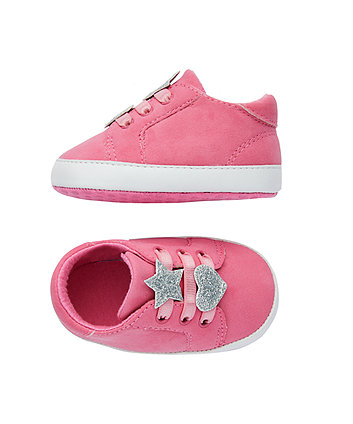 pink heart and star canvas pram shoes