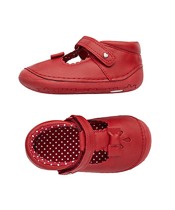 red t-bar first crawler shoes