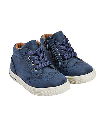 navy brogue hi-top boots