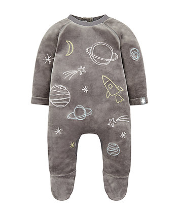 grey space velour all in one