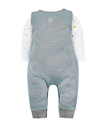 stripe rocket dungarees and bodysuit set