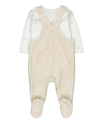 my first giraffe velour dungaree and bodysuit set