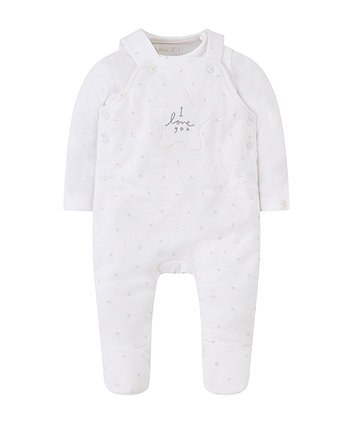 my first white star wadded dungaree set
