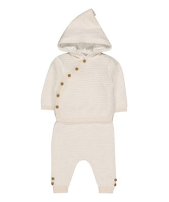 knitted hooded top and trouser set