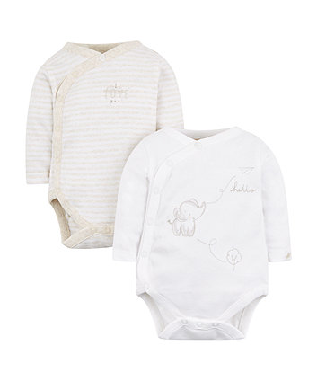 my first elephant wrap opening bodysuits - 2 pack
