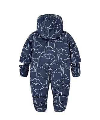 blue dino fleece lined snowsuit