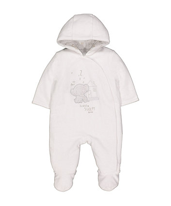 white velour elephant pramsuit
