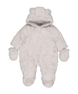 grey fluffy snowsuit