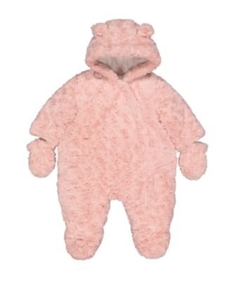 pink fluffy snowsuit