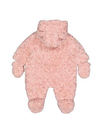 pink fluffy snowsuit