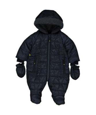 navy quilted snowsuit