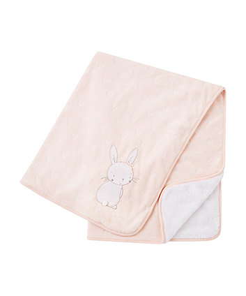 my first pink bunny velour shawl