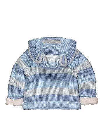 blue stripe hooded cardigan