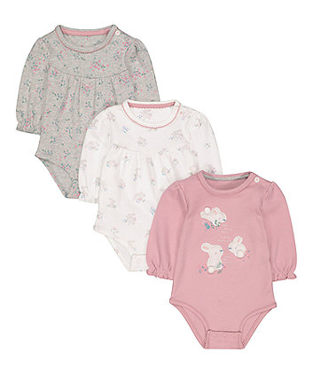 floral bunny bodysuits - 3 pack