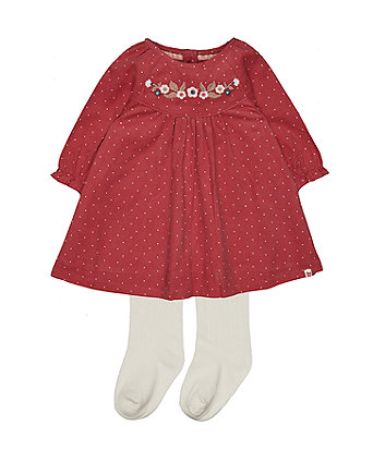 6b3361979 pink spot floral cord dress and tights