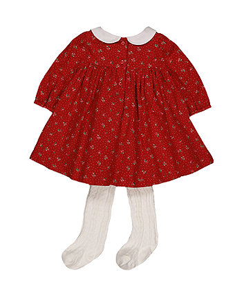 floral spot dress and tights