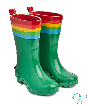 little bird rainbow wellies