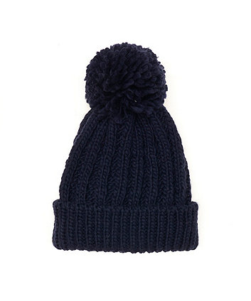 navy knit beanie hat