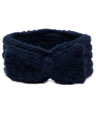 navy knitted bow headband