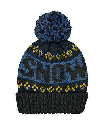 blue snow fairisle knitted beanie