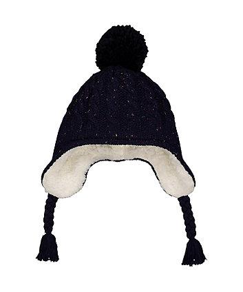 navy pom trapper hat