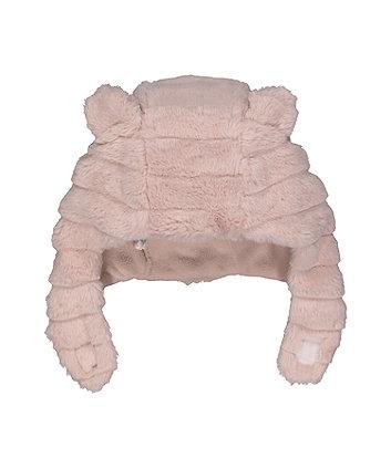 pink faux fur trapper hat