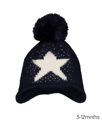 navy shooting star trapper hat
