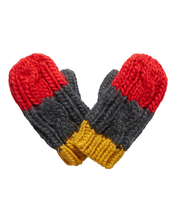 mustard, grey and red mittens