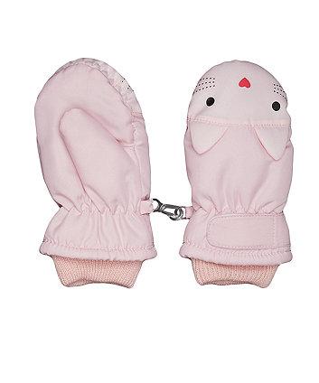pink cat ski mittens