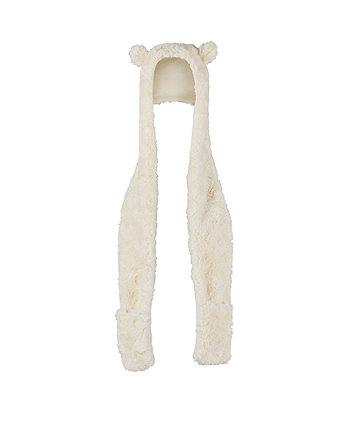 cream faux fur hooded scarf