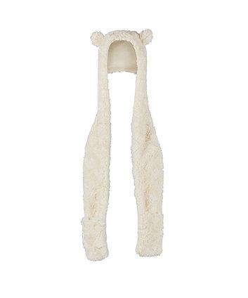 cream faux fur hooded scarf
