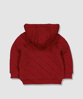 my k burgundy quilted zip-through hoodie