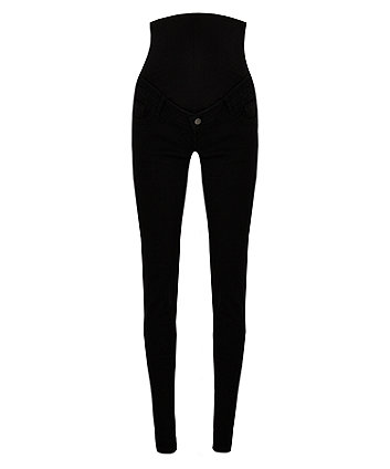 black over-the-bump skinny maternity jeans
