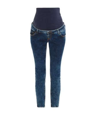 blue acid wash skinny maternity jeans