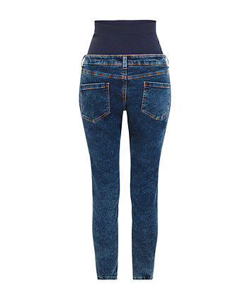 blue acid wash skinny maternity jeans