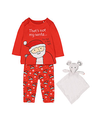 that's not my santa pyjamas and mouse comforter toy