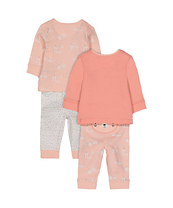 pink polar bear pyjamas - 2 pack