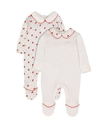 white floral pointelle sleepsuits - 2 pack