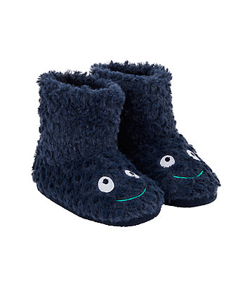 navy dinosaur booties