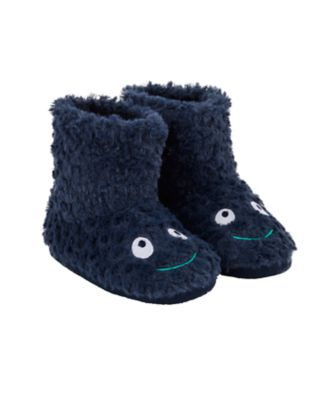 navy dinosaur booties