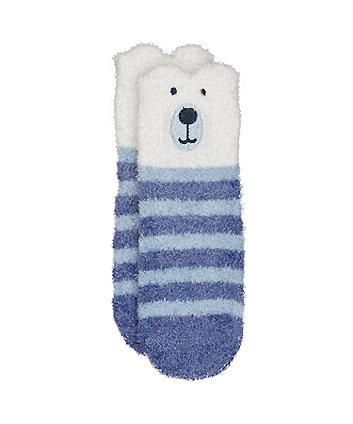blue stripe bear socks