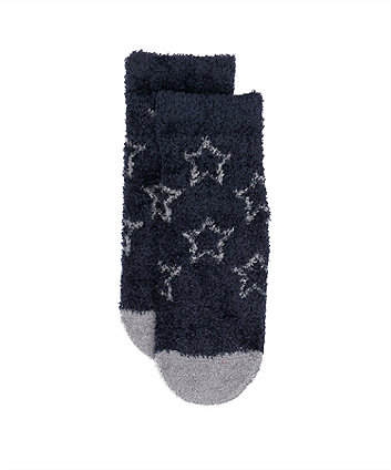 navy and grey star socks