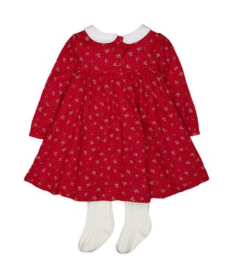 heritage red floral dress with tights
