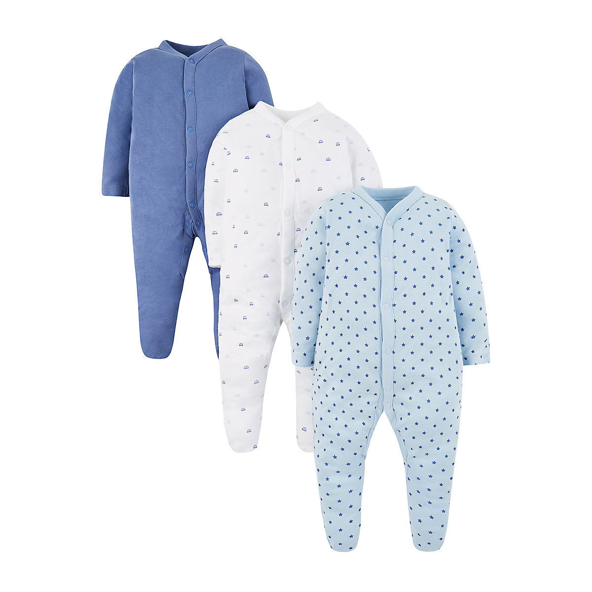 blue sleepsuits - 3 pack