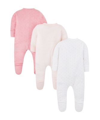 pink terry sleepsuits – 3 pack