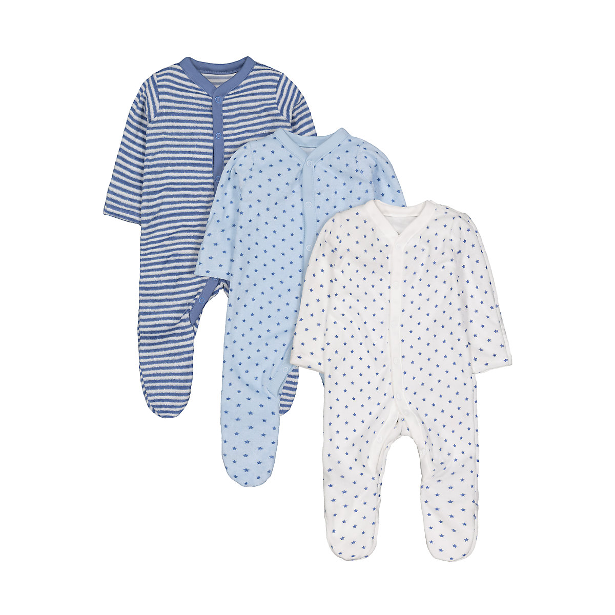blue towelling sleepsuits - 3 pack